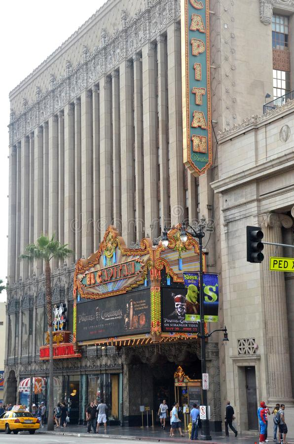 El Capitan剧院是好莱坞大道的,加利福尼亚一个充分地被恢复的电影宫殿 免版税库存照片