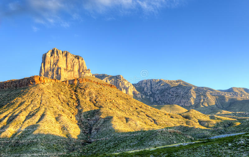 El Capitan. Catching day's first rays, in Guadalupe Mountains National Park, Texas royalty free stock photos