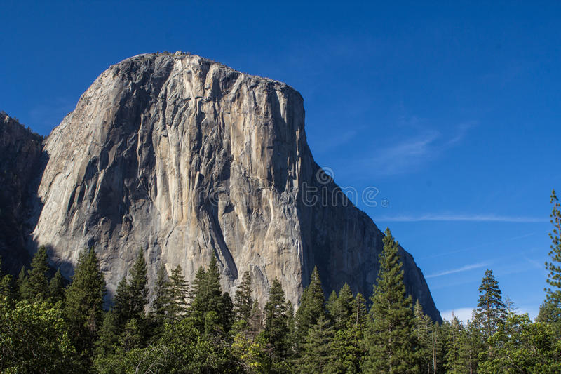 El Capitan. In the heart of Yosemite, this massive rock formation towers over the valley that so many tourist and adventurers travel to see each year stock photos
