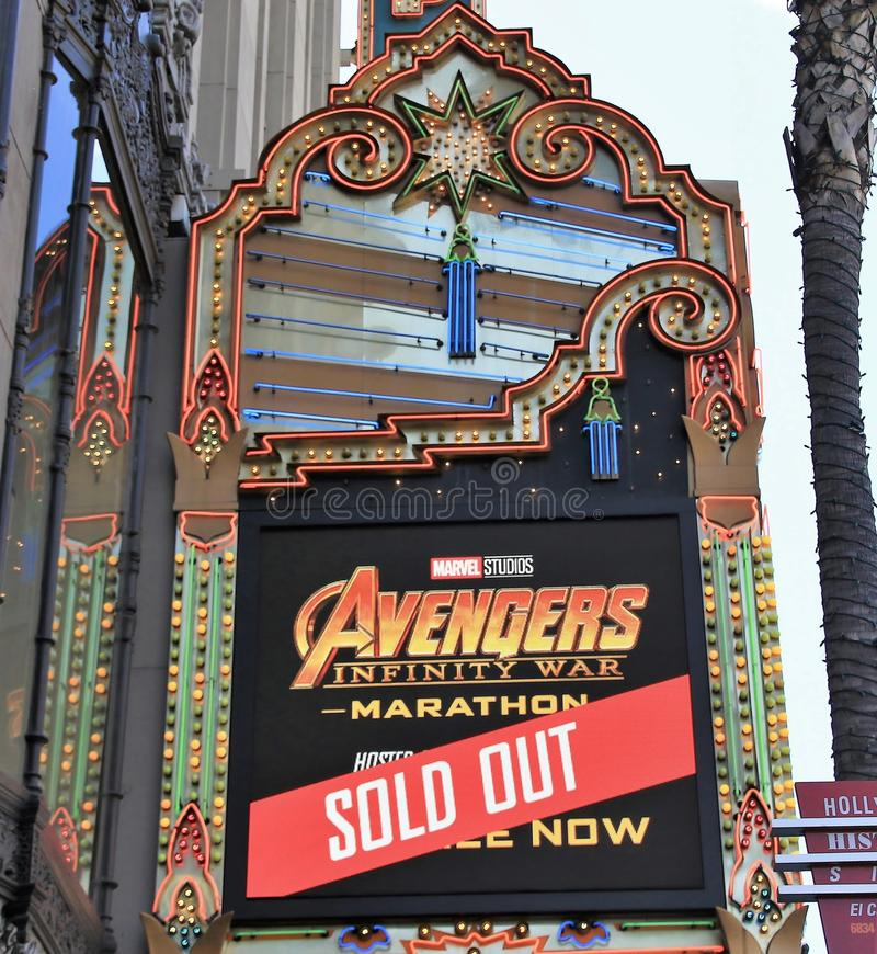El Capitan marquee for Avengers movie. El Capitan Theatre marquee for Avengers:Infinity War movie royalty free stock photography