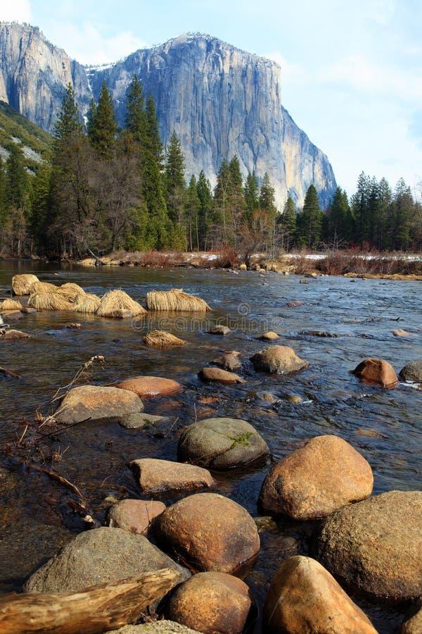 El Capitan and merced river stock photography