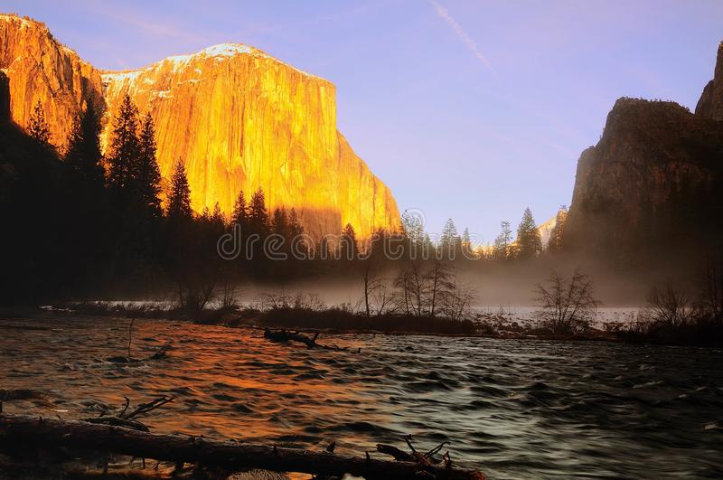 El Capitan and Merced River Winter time royalty free stock image