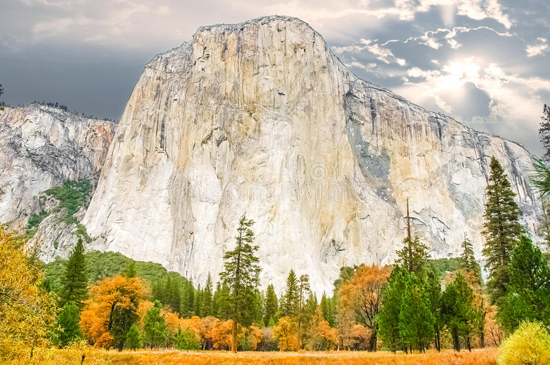 El Capitan Monolith. The Yosemite Valley monolith known as El Capitan. El Capitan is a vertical rock formation in Yosemite National Park, located on the north royalty free stock photography