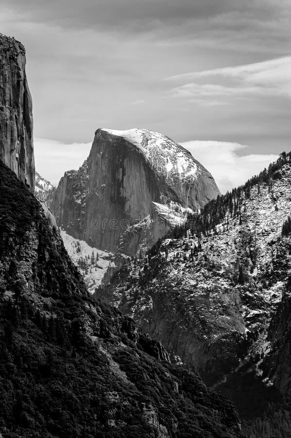 El Capitan in monochrome. El Capitan mountain in Yosemite National Park in monochrome stock photos