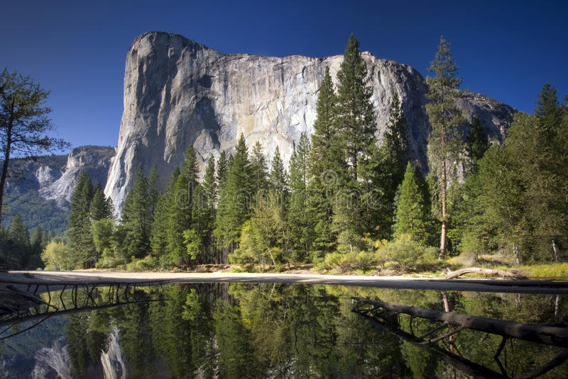 El Capitan reflected in the Merced River, Yosemite National Park, California, USA stock photos