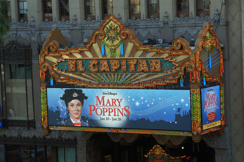 El Capitan Theater featuring a Mary Poppins ad royalty free stock photo