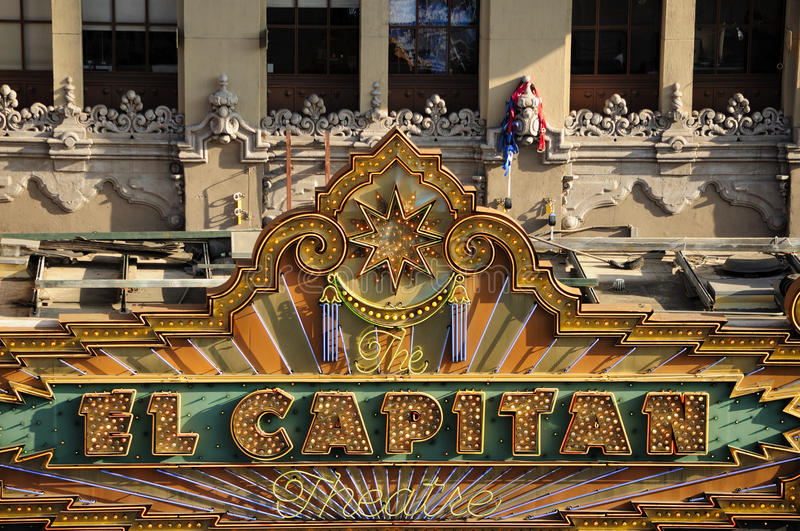El Capitan Theater Sign. The landmark El Capitan theatre marquee in Hollywood area of Los Angeles California royalty free stock image
