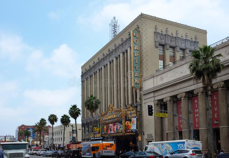 El Capitan Theatre is a fully restored movie palace on Hollywood Blvd. HOLLYWOOD - JUNE 18, 2019: El Capitan Theatre is a fully restored movie palace on royalty free stock photos