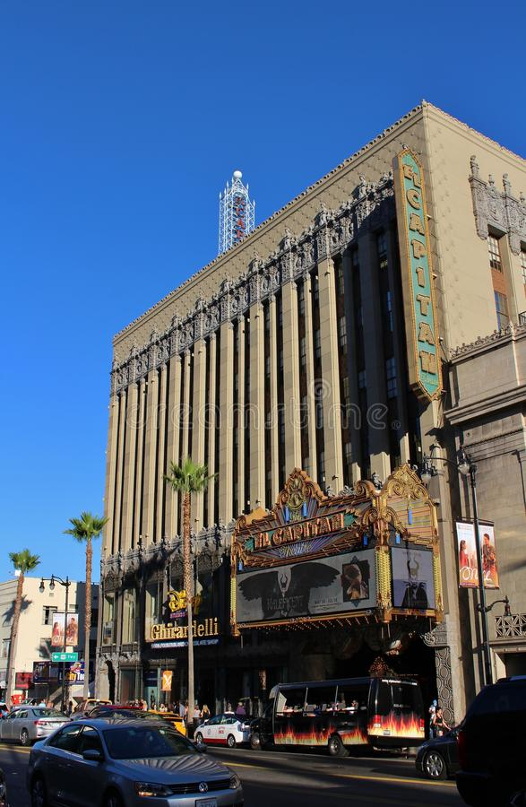 El Capitan Theatre, Hollywood. El Capitan Theatre is a movie palace that opened in 1923. The cinema is owned and operated by The Walt Disney Company stock photos
