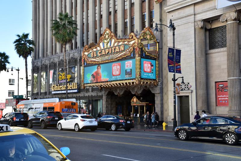 El Capitan Theatre. LOS ANGELES, CA/USA - NOVEMBER 30, 2018: The Iconic El Capitan Theatre on the Hollywood Walk of Fame royalty free stock photo