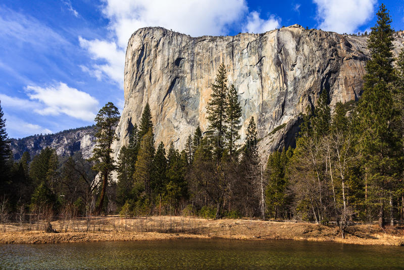 El Capitan in Yosemite. View of El Capitan over the Merced River in Yosemite National Park, California royalty free stock images