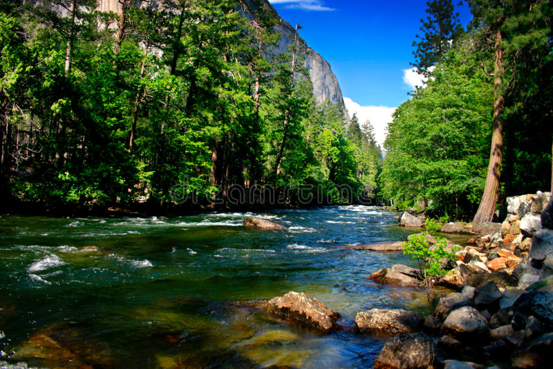 El Capitan, Yosemite National park. El Capitan is a 3,000 foot vertical rock formation in Yosemite Valley and Yosemite National Park. It is one of the most royalty free stock image
