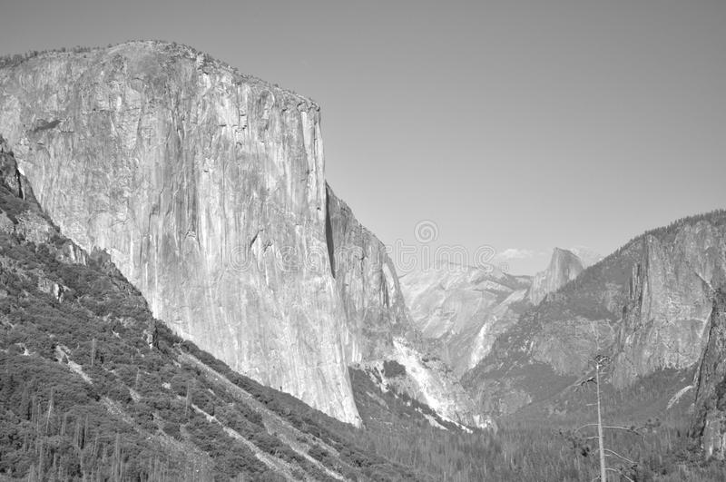 El Capitan. At tunnel view Yosemite National Park mountain in black and royalty free stock photos