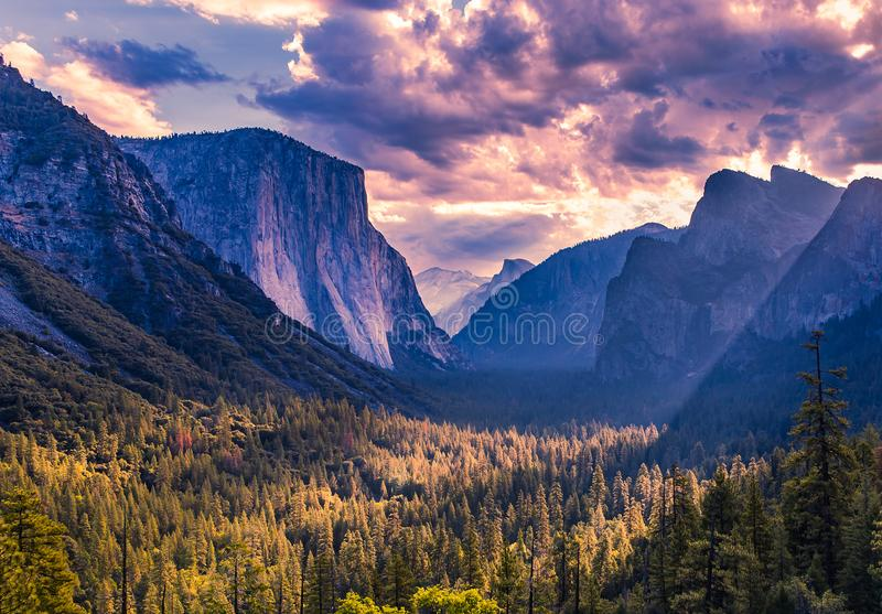 El Capitan, Yosemite national park. World famous rock climbing wall of El Capitan, Yosemite national park, California, usa stock photo