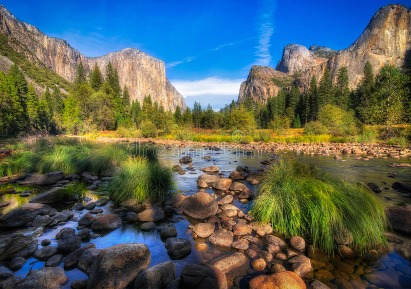 El Capitan Yosemite. Valley view of Yosemite valley with El Capitan in the background royalty free stock photography