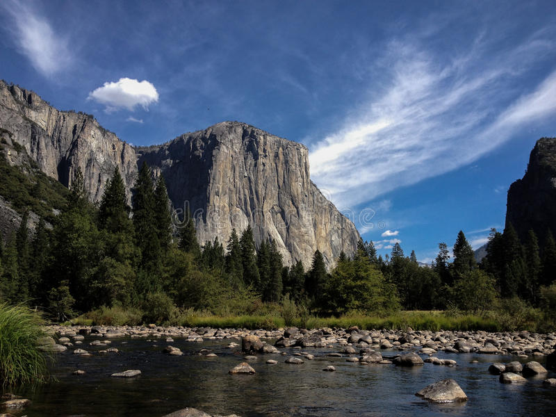 El Capitan in Yosemite. View of El Capitan, the worlds famous rock-climbing destination, from Yosemite Valley stock photo