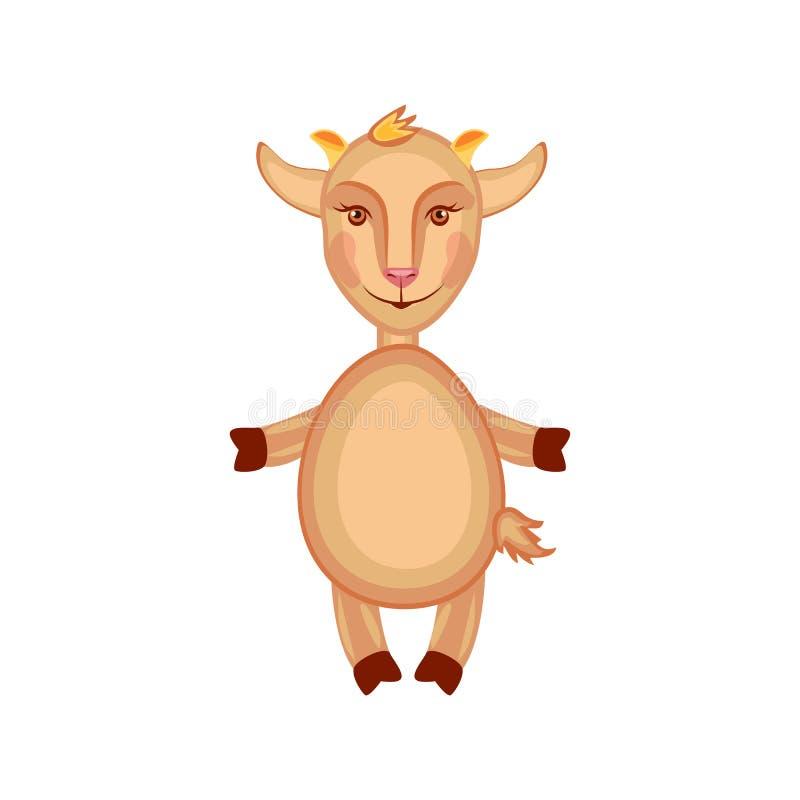 El Capricornio lindo del vector de la historieta, cabra, embroma el soporte del animal doméstico aislado en el fondo blanco, mamí stock de ilustración