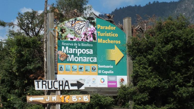 The main entrance sign at the Monarch Butterfly Biosphere Reserve of Santuario El Capulin royalty free stock image