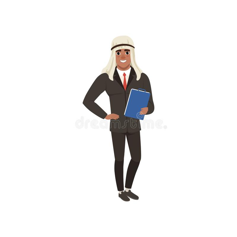 El carácter árabe del hombre de negocios en el desgaste formal que se coloca con la carpeta para los documentos vector el ejemplo stock de ilustración
