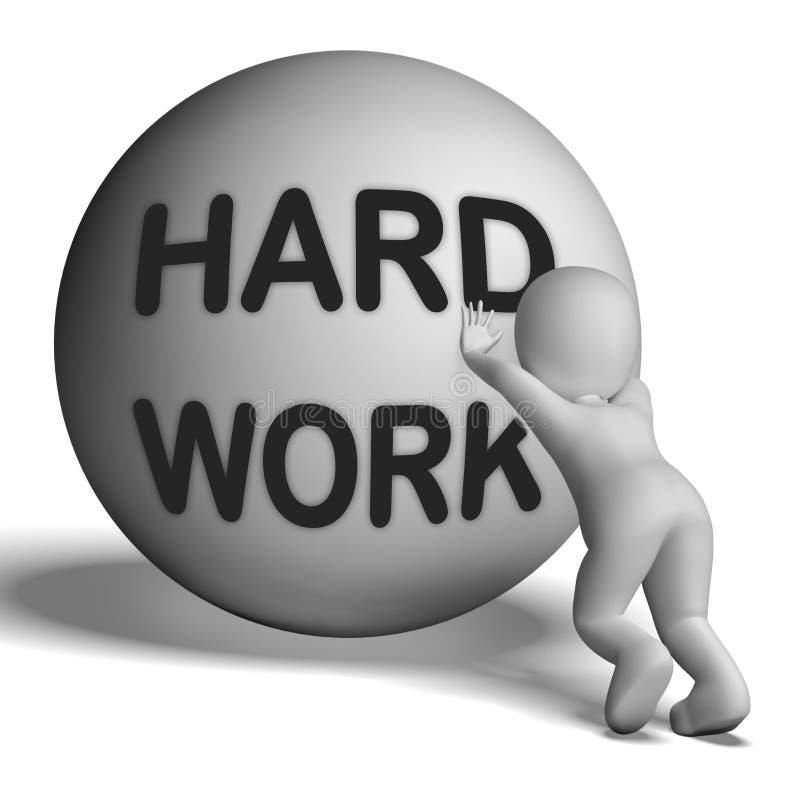 El carácter ascendente del trabajo duro muestra el trabajo de trabajo difícil libre illustration
