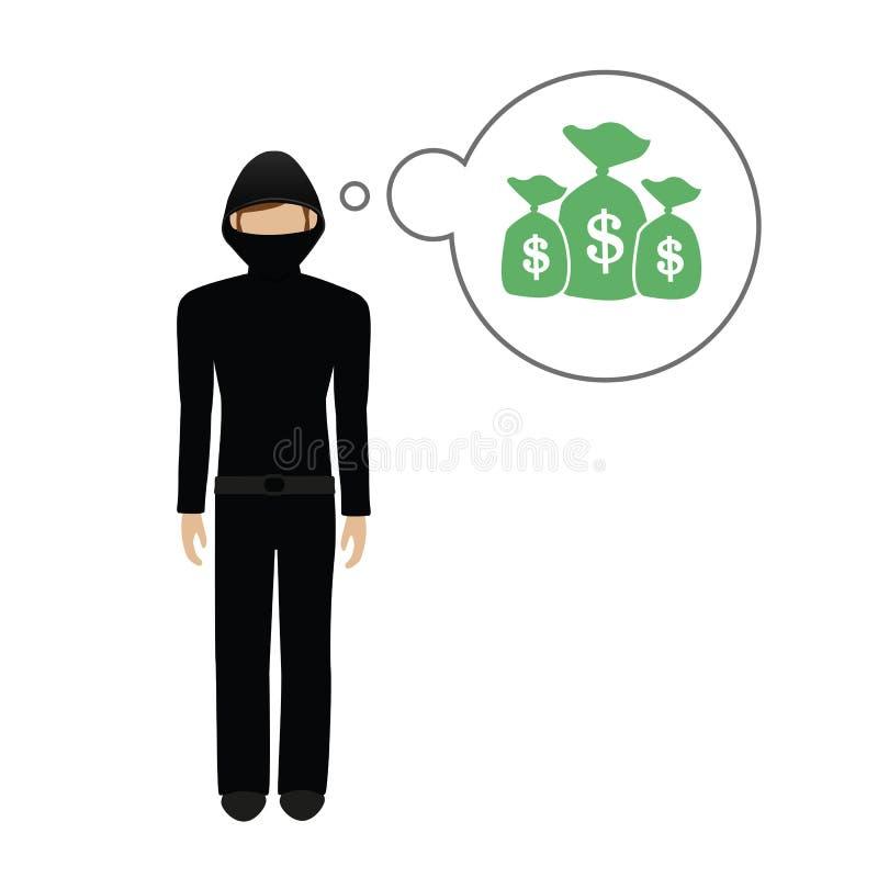 El carácter criminal piensa en muchos dólares del dinero libre illustration