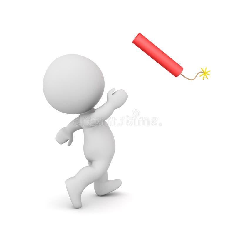 el carácter 3D lanza un palillo rojo grande de la dinamita libre illustration