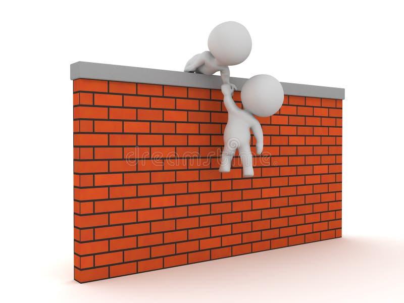 el carácter 3D que ayuda con éxito a otro consigue sobre una pared ilustración del vector