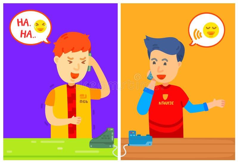 El carácter de dos individuos que invita al teléfono con el cuadro de mensaje, hogar, esté en el teléfono, ellos habló en el telé ilustración del vector
