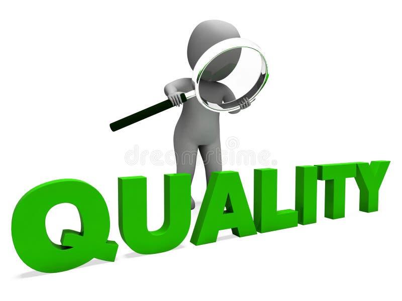 El carácter de la calidad muestra la aprobación de la perfección y excelente ilustración del vector