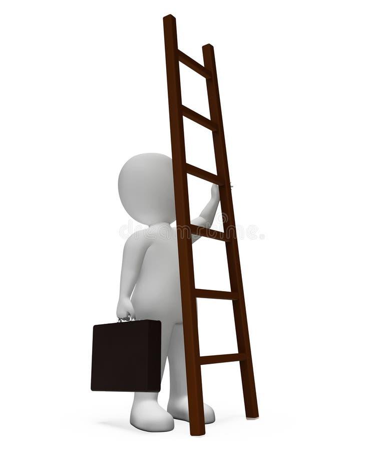 El carácter de la escalera significa dificultades y la representación anticipada 3d stock de ilustración