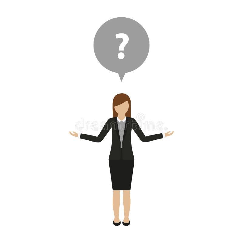 El carácter de la mujer de negocios tiene una pregunta stock de ilustración