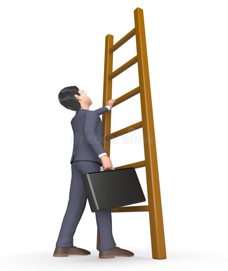 El carácter de la subida significa dificultades y la representación anticipada 3d stock de ilustración