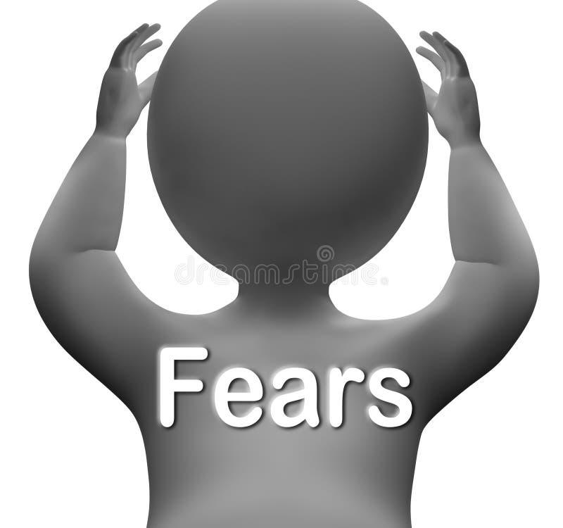 El carácter de los miedos significa ansiedades y preocupaciones de las preocupaciones ilustración del vector