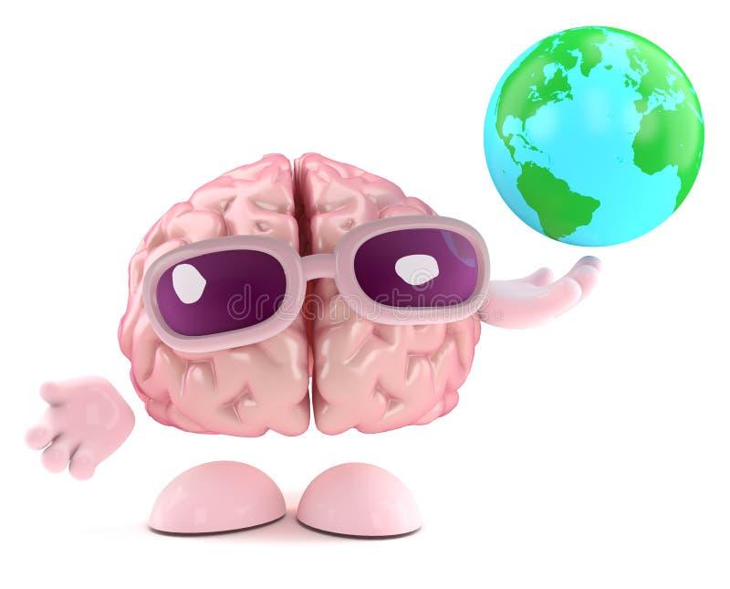 el carácter del cerebro 3d sostiene un globo de la tierra ilustración del vector