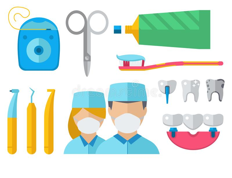 El carácter del doctor del dentista y la medicina del equipo de la estomatología equipan el ejemplo del vector stock de ilustración