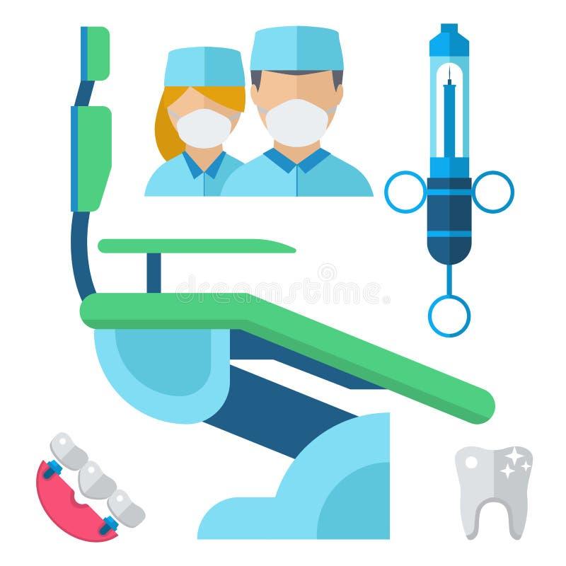 El carácter del doctor del dentista y la medicina del equipo de la estomatología equipan el ejemplo del vector libre illustration