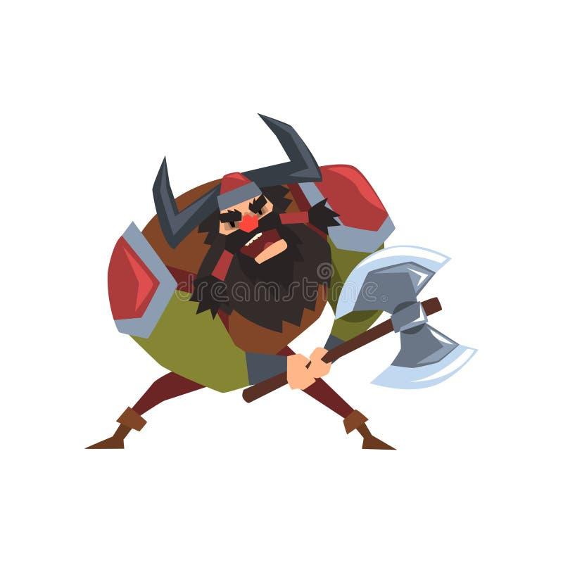 El carácter del guerrero de Viking en casco con los cuernos y el hacha de la batalla vector el ejemplo en un fondo blanco stock de ilustración