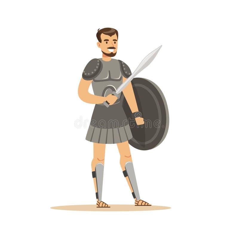 El carácter del guerrero, el hombre en armadura histórica con la espada y el escudo vector el ejemplo ilustración del vector