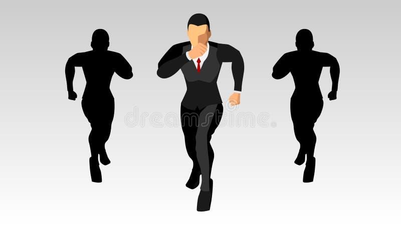 El carácter del hombre de negocios que corre adelante, junto con la silueta plantilla en blanco del fondo EPS10 stock de ilustración