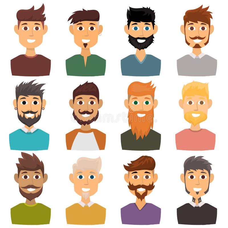 El carácter del peinado barbudo del avatar de la cara del hombre de las diversas expresiones y del inconformista de la moda dirig stock de ilustración