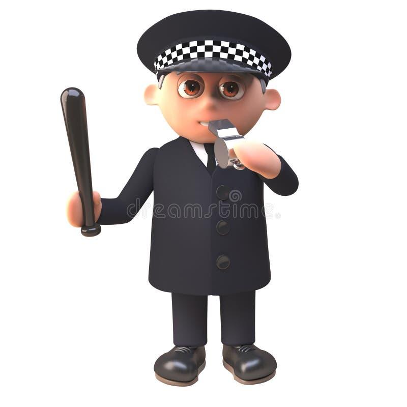 El carácter del policía 3d del oficial de policía sopla su silbido y maneja una matraca, ejemplo 3d ilustración del vector