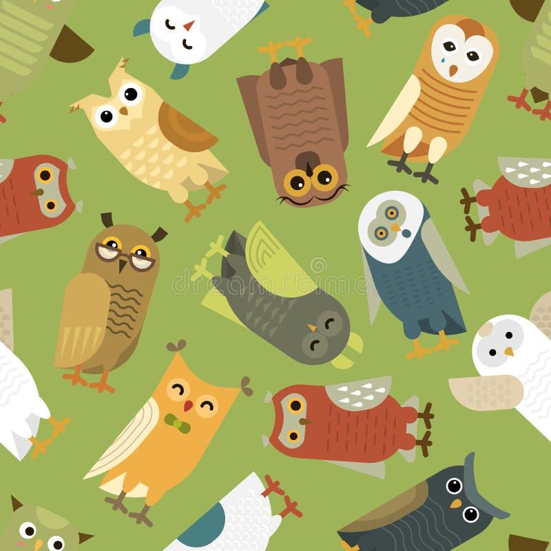 El carácter determinado del mochuelo del pájaro lindo de la historieta del vector de los búhos embroma el arte animal del bebé pa stock de ilustración