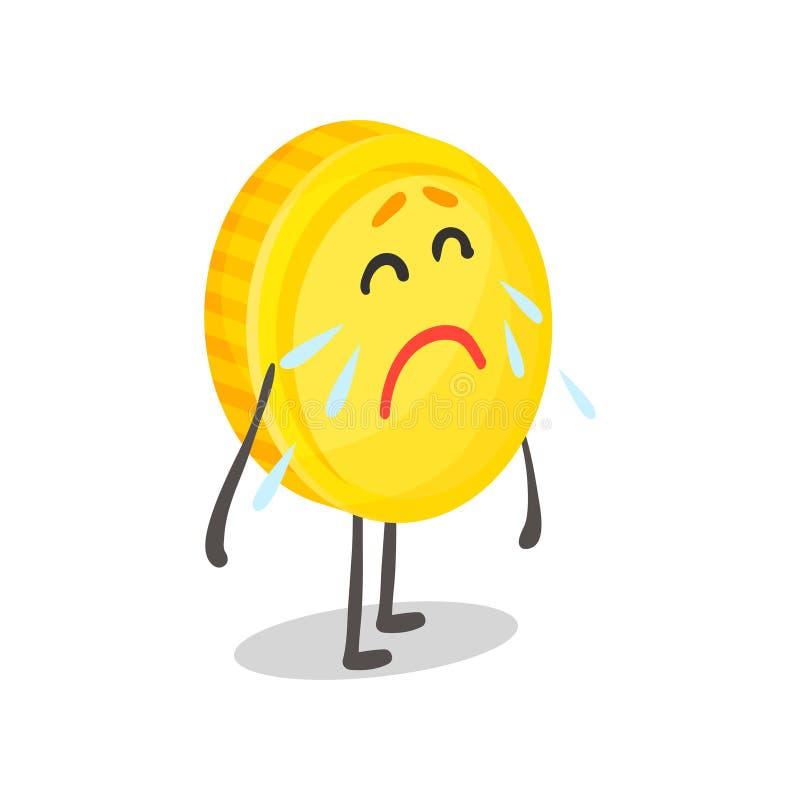 El carácter, el dinero y la historieta humanizados moneda de oro infelices del concepto de las finanzas que lloran vector el ejem ilustración del vector