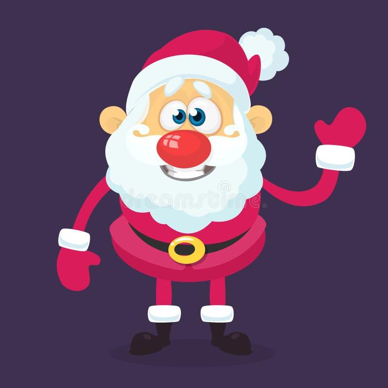El carácter divertido de Papá Noel de la historieta que señalaba la mano aisló el fondo blanco Ejemplo de la Navidad del vector libre illustration