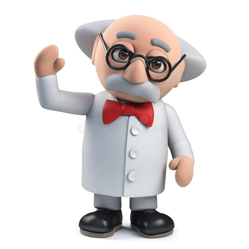 el carácter enojado del profesor del científico 3d agita un saludo alegre ilustración del vector