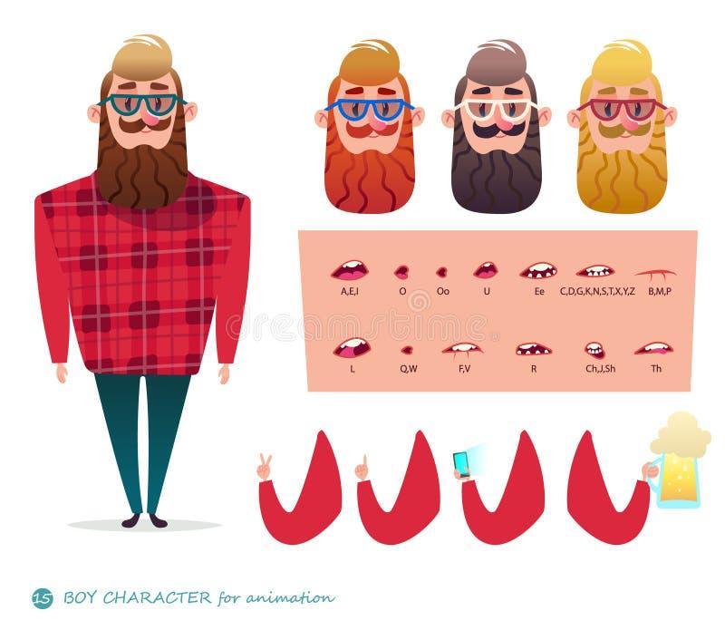 El carácter habla la barba del inconformista de las animaciones ilustración del vector
