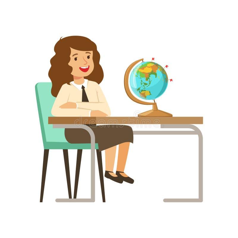 El carácter hermoso de la muchacha en el uniforme escolar que se sienta en el escritorio con los libros de texto y el globo vecto stock de ilustración