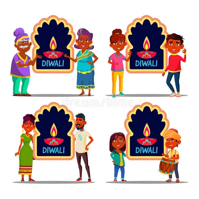 El carácter indio que celebraba Diwali fijó vector ilustración del vector