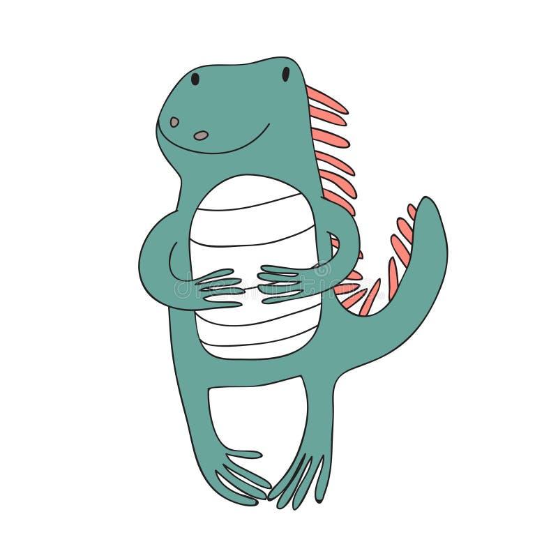 El carácter lindo de la iguana de la historieta, vector aisló el ejemplo en estilo simple stock de ilustración