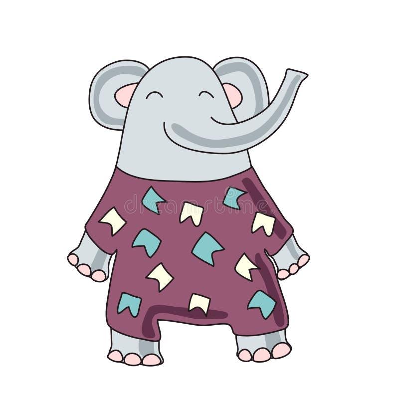 El carácter lindo del elefante de la historieta, vector aisló el ejemplo en estilo simple stock de ilustración